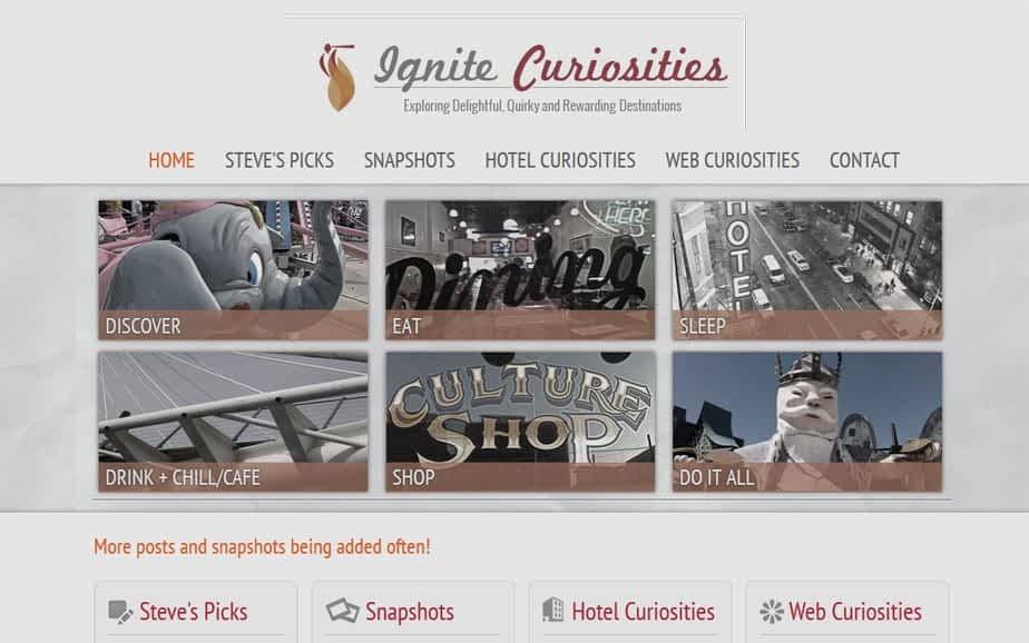 Ignite Curiosities Web Design Refresh - Before